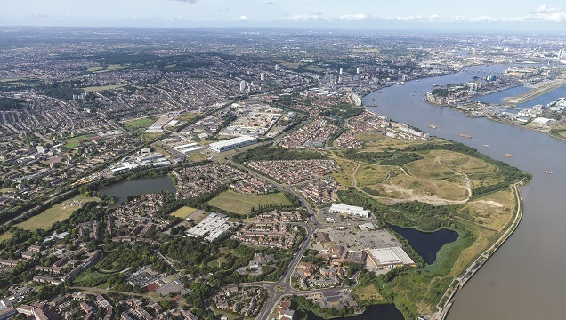 Thamesmead Waterfront area aerial